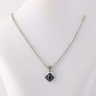Lagos Lagos Caviar Onyx Pendant Chain Necklace 17 34 - Sterling Silver 18k Gold