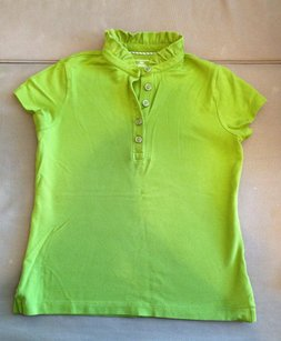 Lands' End Stretchy T Shirt PIQUE POLO RUFFLE XS GREEN BRIGHT
