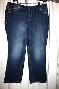Lane Bryant Plus Petite Blue Simply Stretch Denim Red Triangle Straight Leg Jeans