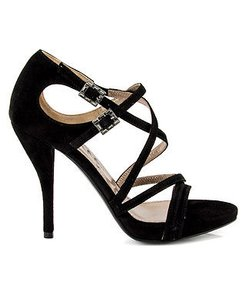 Lanvin Suede Strappy Criss Cross Sandal Heels Crystal Buckle Black Pumps