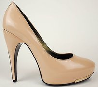Lanvin Gold Leather Nude Pumps