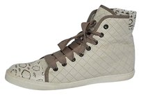 Lanvin Womens Quilted Leatherwatersnake High Top Sneaker Cream 1141 Ivories Athletic