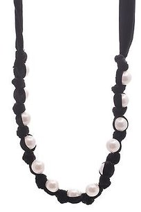 Lanvin Lanvin Black Velvet Faux Pearl Necklace