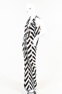 Multi-Color Maxi Dress by Lanvin Black Cream Gray Silk