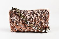 Lanvin Blush Satin Sequined Bronze Tone Chain Embellished Shoulder Bag
