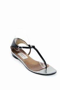 Lanvin Silver Tonal Patent Leather Thong T Strap Flat Black Sandals