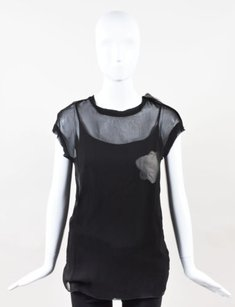 Lanvin White Sheer Top Black