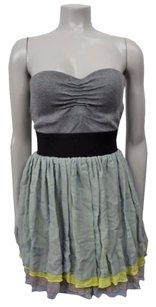 LaROK The By Strapless Silk Color Block Layered Gray Multi Dress