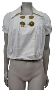LaROK Cropped Big Buttons Front White Jacket