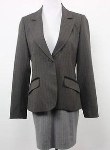 Laundry by Shelli Segal Laundry Womens Brown Striped Blazer Long Sleeve Basic Jacket Polyest