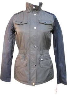 Laundry by Shelli Segal Mixed Media Funnel Neck Military Jacket