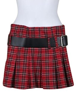 Laundry by Shelli Segal Womens Red Black Plaid Pleated Mini Skirt Multi-Color