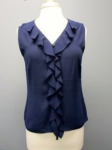 Laundry by Shelli Segal V Front Ruffle Button Up Sma 4168 Top navy blue