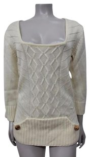 Lauren Moffatt Cream Cable Knit Merino Wool Wooden Button Sweater