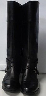 Lauren Ralph Lauren Edgy Zip Up W Side Buckles Leather B3343 Black Boots