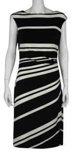 Lauren Ralph Lauren Womens Black Ivory Sheath Wtw Career Sleeveless Dress