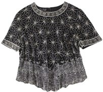 Laurence Kazar Floral Silk Ss Top