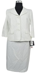 Le Suit Le Suit Womens Natural White Polka Dot Skirt Suit Size 8p