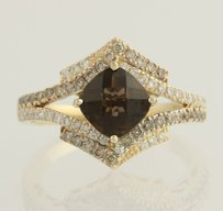 Le Vian Le Vian Smoky Quartz Diamond Cocktail Ring - 14k Yellow Gold Genuine 1.78ctw