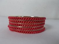 Lee Angel Lee Angel Color Therapy Red Enamel Rope Gold Multi Bangle Set