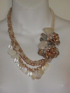 Lee Angel Lee Angel Cream Shell Turq Cluster Statement Necklace