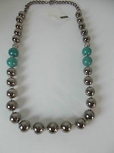 Lee Angel Lee Angel Gunmetal Bauble Fireball Turq Marble Necklace