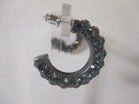 Lee Angel Lee Angel Gunmetal Blue Crystal Hoop Earrings