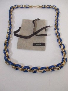 Lee Angel Lee Angel Navy Enamel Gold Heavy Link Clasp Necklace