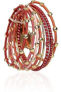 Lee Angel Lee Angel Ribbon-embellished Bangle Set Yellow Orange Gold