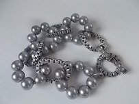Lee Angel Lee Angel Silver Faux Pearl Antique Box Link Cyrstal Toggle Bracelet
