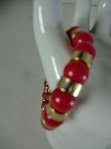 Lee Angel Lee Angel Valerie Two Tone Gold Red Bead Mix Strand Stretch Bracelet