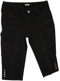 Lee Rivet Silver Capris Black