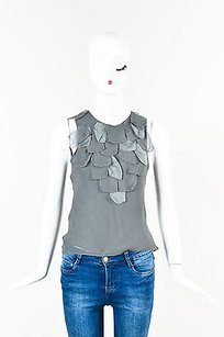 Lela Rose Gray Sheer Silk Top Silver