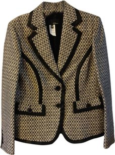 Les Copains Spring Houndstooth Textured Black and White Blazer