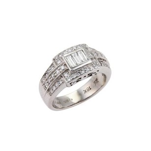 LeVian Levian 1.00ct Diamond 18k White Gold Fancy Design Band Ring-size