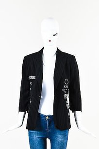 Libertine Libertine Black White Text Pinstripe Collared Frayed Edges Single Button Blazer