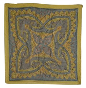 Liberty of London Mustard LIBERTY LONDON Square SILK SCARF Paisley Print Botanical Motif