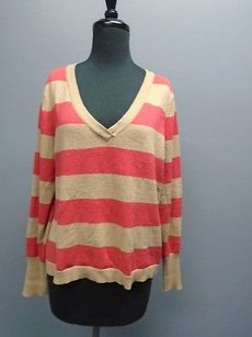 Lilla P Stretchy Knit V Neck Striped Womens 4045a Sweater