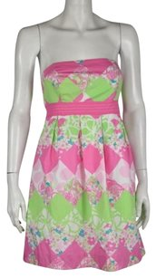 Lilly Pulitzer Womens Sheath Floral Cotton Strapless Dress