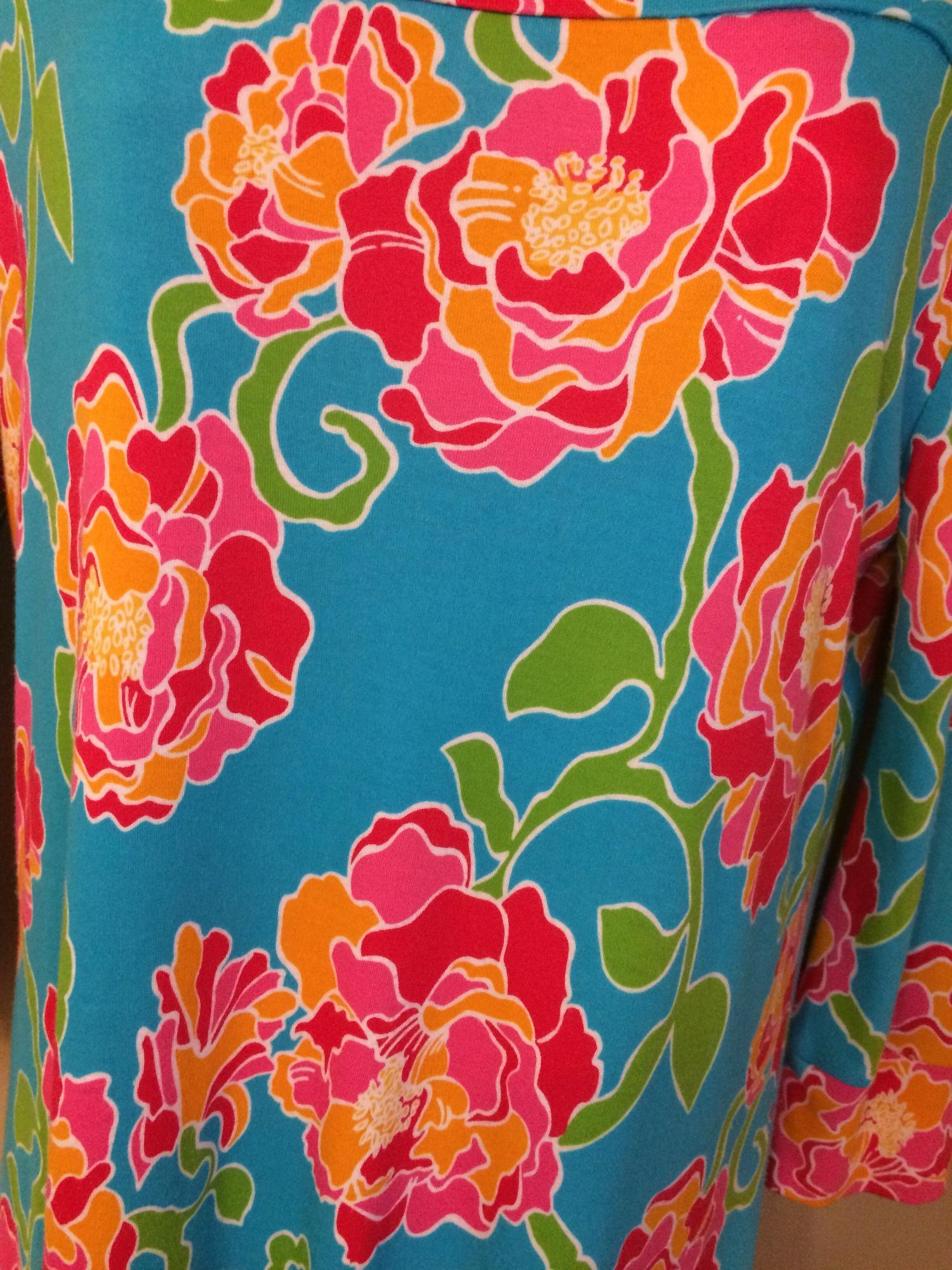 Lilly Pulitzer Teal Multi Color Casual Block Work/Office Dress