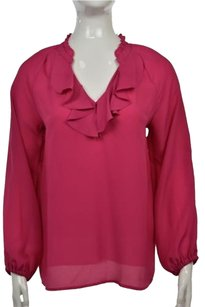 Lilly Pulitzer Womens Long Sleeve Wtw V Neck Shirt Top Pink