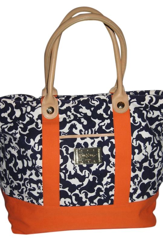 Lilly Pulitzer Large Navy Blue White & Orange Tote Bag low-cost ...