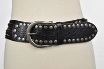 Linea Pelle Linea Pelle Womens Black Striped Cut Out Wide Belt Leather Casual