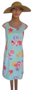 Liz Claiborne short dress AQUA WITH FLORAL PRINT So 50's Cotton Retro Design on Tradesy