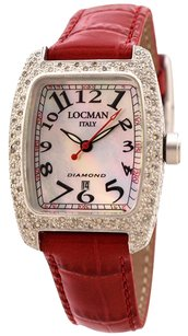 LOCMAN ITALY LOCMAN Diamond Tonneau Mother of Pearl Dial Red Leather Strap Ladies Watch LOC485MOPBK2DCRDLEAL