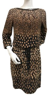 London Times Leopard Brown Black Ombre Studded Boat Neck Blouson Dress