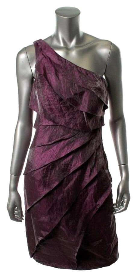 London Times Grape (Purple) One Shoulder Shimmer Party New Knee Length Cocktail Dress Size 14 (L) 58% off retail