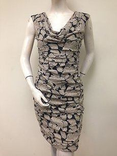 London Times Taupe Lace Floral Cowl Neck Sleeveless Cowl Neck Dress