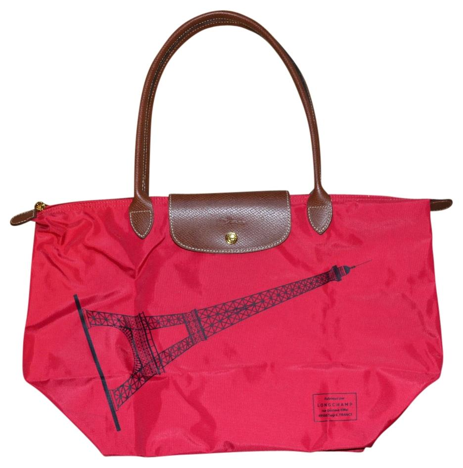 Longchamp Eiffel Tower Le Pliage Tote in Bright Pink-Red