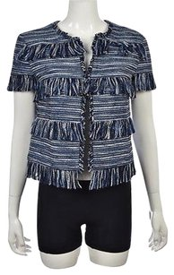 Lord & Taylor Amp Womens Blue Cardigan Striped Sweater
